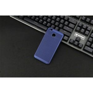 Пластиковый непрозрачный матовый чехол с допзащитой торцов и текстурным покрытием Точки для Xiaomi RedMi 4X Синий