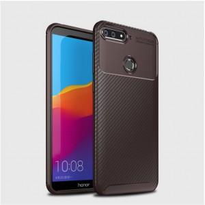 Силиконовый матовый непрозрачный чехол с текстурным покрытием Карбон для Huawei 7A Pro/7C/Y6 Prime (2018) Коричневый
