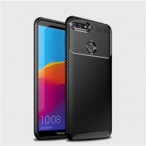 Силиконовый матовый непрозрачный чехол с текстурным покрытием Карбон для Huawei 7A Pro/7C/Y6 Prime (2018) Черный