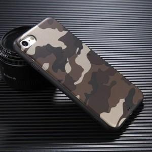 Силиконовый матовый непрозрачный чехол с текстурным покрытием Камуфляж для Iphone 6/6s Коричневый
