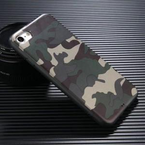 Силиконовый матовый непрозрачный чехол с текстурным покрытием Камуфляж для Iphone 6/6s Зеленый