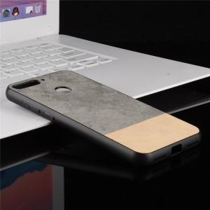 Силиконовый матовый непрозрачный чехол с текстурным покрытием Ткань для Huawei Honor 7A Pro/7C/Y6 Prime (2018) Серый
