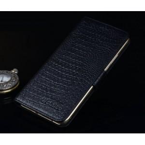 Кожаный чехол портмоне (нат. кожа крокодила) для ASUS Zenfone Selfie Черный