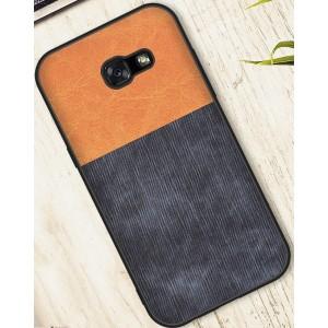 Силиконовый матовый непрозрачный чехол с текстурным покрытием Ткань для Samsung Galaxy A5 (2017) Бежевый
