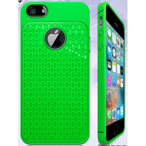 Силиконовый матовый непрозрачный чехол с текстурным покрытием Узоры для Iphone 5/5s/SE Зеленый