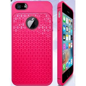Силиконовый матовый непрозрачный чехол с текстурным покрытием Узоры для Iphone 5/5s/SE Пурпурный