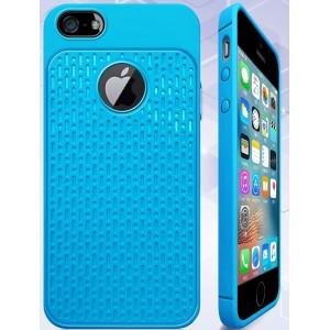 Силиконовый матовый непрозрачный чехол с текстурным покрытием Узоры для Iphone 5/5s/SE Голубой