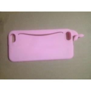 Силиконовый матовый непрозрачный дизайнерский фигурный чехол с отсеком для карт для Iphone 5/5s/SE Розовый