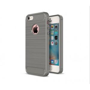 Силиконовый матовый непрозрачный чехол с текстурным покрытием Металлик для Iphone 5/5s/SE Серый