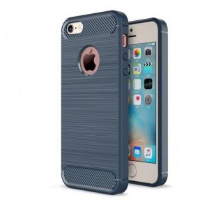 Силиконовый матовый непрозрачный чехол с текстурным покрытием Металлик для Iphone 5/5s/SE Синий