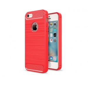 Силиконовый матовый непрозрачный чехол с текстурным покрытием Металлик для Iphone 5/5s/SE