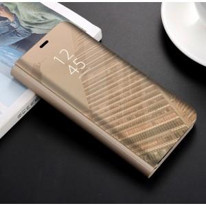 Пластиковый непрозрачный матовый чехол с полупрозрачной крышкой с зеркальным покрытием для Huawei Honor 9 Lite Бежевый