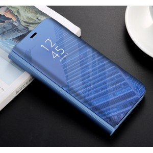 Пластиковый непрозрачный матовый чехол с полупрозрачной крышкой с зеркальным покрытием для Huawei Honor 9 Lite Синий