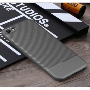 Силиконовый матовый непрозрачный чехол с текстурным покрытием Карбон для Iphone 5/5s/SE Серый