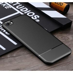 Силиконовый матовый непрозрачный чехол с текстурным покрытием Карбон для Iphone 5/5s/SE Черный