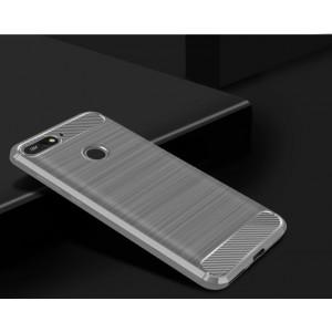 Силиконовый матовый непрозрачный чехол с текстурным покрытием Металлик для Huawei Honor 7A Pro/7C/Y6 Prime (2018) Белый
