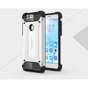 Двухкомпонентный силиконовый матовый непрозрачный чехол с нескользящими гранями и поликарбонатными бампером и крышкой для Huawei Honor 8 Белый