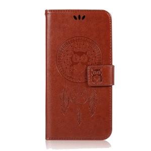 Чехол портмоне подставка текстура Узоры на силиконовой основе с отсеком для карт на магнитной защелке для Huawei Honor 8 Коричневый