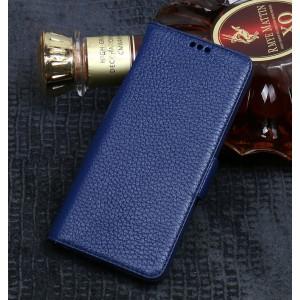 Кожаный чехол горизонтальная книжка подставка (премиум нат. кожа) с крепежной застежкой (с отсеком для карт) для ASUS ZenFone Max Pro M2 Синий