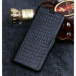 Кожаный чехол горизонтальная книжка подставка (премиум нат. кожа крокодила) с крепежной застежкой (с отсеком для карт) для ASUS ZenFone Max Pro M2