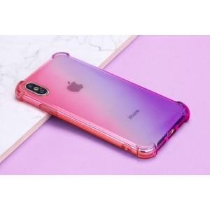 Силиконовый глянцевый полупрозрачный градиентный чехол с усиленными углами для Iphone X/XS Фиолетовый