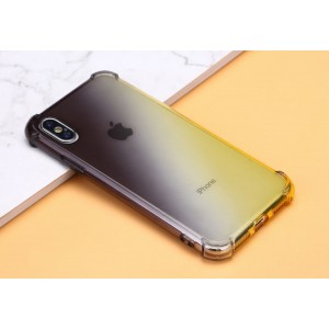 Силиконовый глянцевый полупрозрачный градиентный чехол с усиленными углами для Iphone Xs Max Черный