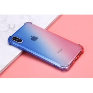 Силиконовый глянцевый полупрозрачный градиентный чехол с усиленными углами для Iphone Xs Max Розовый