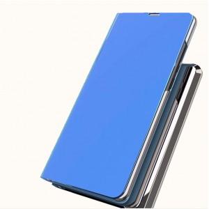 Двухмодульный пластиковый непрозрачный матовый чехол подставка с полупрозрачной смарт крышкой с зеркальным покрытием для Iphone X/XS Синий