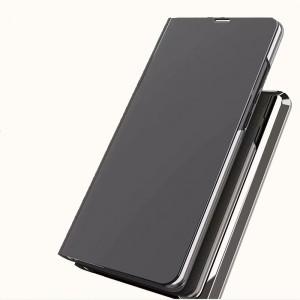 Двухмодульный пластиковый непрозрачный матовый чехол подставка с полупрозрачной смарт крышкой с зеркальным покрытием для Iphone Xs Max Черный