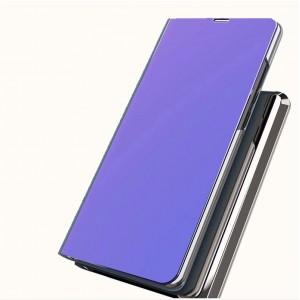 Двухмодульный пластиковый непрозрачный матовый чехол подставка с полупрозрачной смарт крышкой с зеркальным покрытием для Iphone Xr Фиолетовый