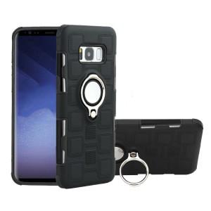Двухкомпонентный силиконовый матовый непрозрачный чехол с поликарбонатными бампером и крышкой, встроенным магнитным кольцом-подставкой и текстурным покрытием Узоры для Samsung Galaxy S8 Черный