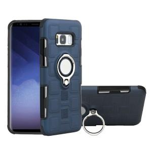 Двухкомпонентный силиконовый матовый непрозрачный чехол с поликарбонатными бампером и крышкой, встроенным магнитным кольцом-подставкой и текстурным покрытием Узоры для Samsung Galaxy S8 Синий