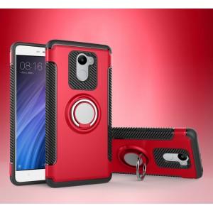 Двухкомпонентный силиконовый матовый непрозрачный чехол с поликарбонатной крышкой и встроенным кольцом-подставкой для Xiaomi RedMi 4 Красный