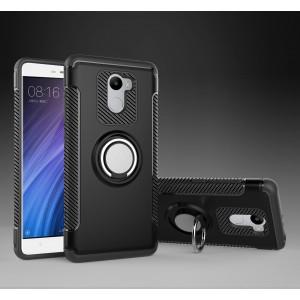 Двухкомпонентный силиконовый матовый непрозрачный чехол с поликарбонатной крышкой и встроенным кольцом-подставкой для Xiaomi RedMi 4 Черный