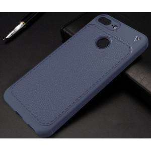 Силиконовый матовый непрозрачный чехол с нескользящими гранями и текстурным покрытием Кожа для Huawei Honor 9 Lite Синий