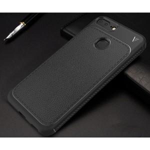 Силиконовый матовый непрозрачный чехол с нескользящими гранями и текстурным покрытием Кожа для Huawei Honor 9 Lite Черный