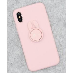 Силиконовый матовый непрозрачный чехол с нескользящим софт-тач покрытием и встроенным кольцом-подставкой для Iphone x10/XS Розовый