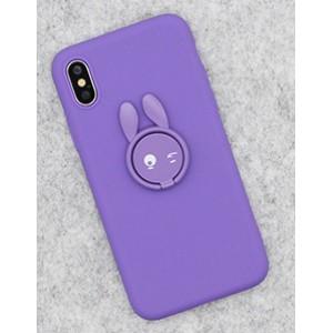 Силиконовый матовый непрозрачный чехол с нескользящим софт-тач покрытием и встроенным кольцом-подставкой для Iphone x10/XS Фиолетовый