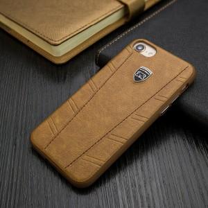 Силиконовый матовый непрозрачный чехол с текстурным покрытием Кожа для Iphone 6/6s Коричневый