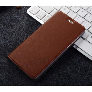 Чехол горизонтальная книжка подставка текстура Линии с отсеком для карт для Huawei Honor 8 Коричневый