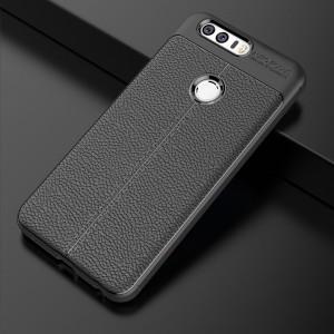 Силиконовый матовый непрозрачный чехол с текстурным покрытием Кожа для Huawei Honor 8 Черный