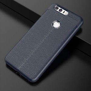 Силиконовый матовый непрозрачный чехол с текстурным покрытием Кожа для Huawei Honor 8 Синий