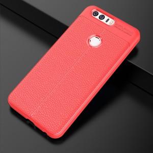 Силиконовый матовый непрозрачный чехол с текстурным покрытием Кожа для Huawei Honor 8 Красный