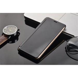 Пластиковый непрозрачный матовый чехол с полупрозрачной крышкой с зеркальным покрытием для Huawei Honor 8 Черный