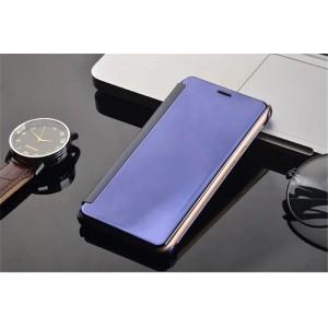 Пластиковый непрозрачный матовый чехол с полупрозрачной крышкой с зеркальным покрытием для Huawei Honor 8 Фиолетовый