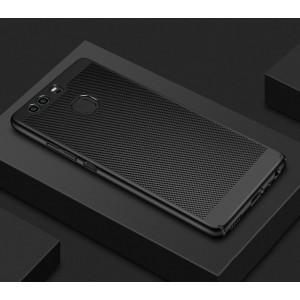 Пластиковый полупрозрачный матовый чехол с допзащитой торцов и текстурным покрытием Точки для Huawei Honor 8 Черный