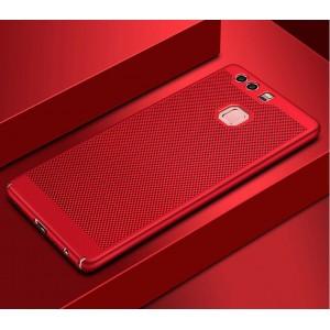 Пластиковый полупрозрачный матовый чехол с допзащитой торцов и текстурным покрытием Точки для Huawei Honor 8 Красный