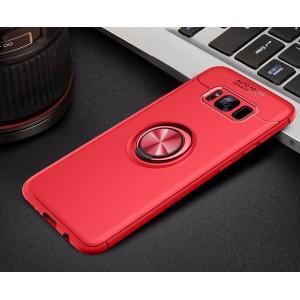 Силиконовый матовый непрозрачный чехол с встроенным магнитным кольцом-подставкой для Samsung Galaxy S8 Красный