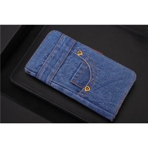 Чехол портмоне подставка на силиконовой основе с джинсовым покрытием на магнитной защелке для Samsung Galaxy S9 Plus Синий