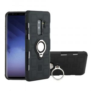Противоударный двухкомпонентный силиконовый матовый непрозрачный чехол с поликарбонатными вставками экстрим защиты с встроенным кольцом-подставкой для Samsung Galaxy S9 Plus Черный